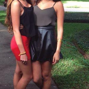 Socialite Black Faux Leather Skirt